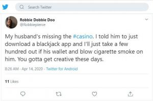 my husband is missing the casino tweet